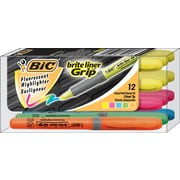 BIC® Brite Liner Grip Highlighters, Assorted, 12/Pack
