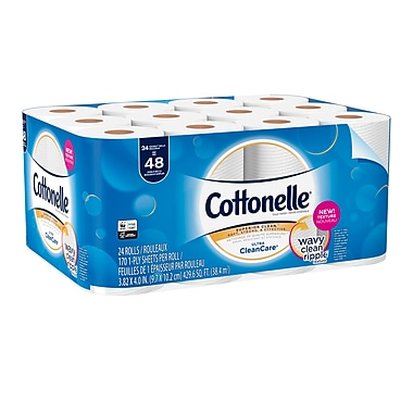 Kleenex Cottonelle Clean Care Double Roll Toilet Paper, 24 Rolls/Pack