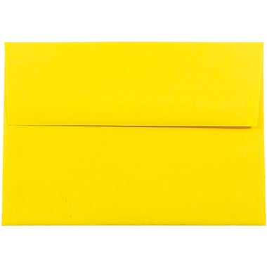 JAM Paper® A7 Invitation Envelopes, 5.25 x 7.25, Brite Hue Yellow Recycled, 100/Pack (96326g)