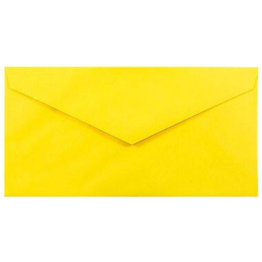 JAM Paper® Monarch Envelopes, 3.88 x 7.5, Brite Hue Yellow Recycled, 100/Pack (34097577g)