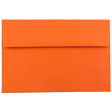 JAM Paper® A7 Invitation Envelopes, 5.25 x 7.25, Brite Hue Orange Recycled, 100/Pack (95666g)