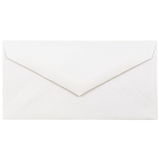 JAM Paper® Monarch Strathmore Invitation Envelopes with Euro Flap, 3.875 x 7.5, Bright White Wove, 25/Pack (195201)