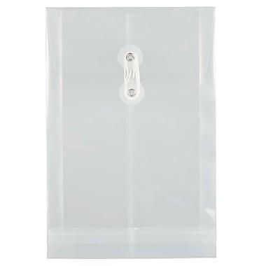 JAM PaperMD – Enveloppes en plastique avec fermeture à bouton et ficelle, 6 1/4 x 9 1/4 po, transparent, paq./12