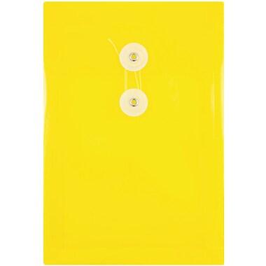 JAM PaperMD – Enveloppes en plastique avec fermeture à bouton et ficelle, 6 1/4 x 9 1/4 po, jaunes, paq./12