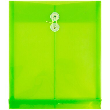 JAM PaperMD – Enveloppes à ouverture au sommet, fermeture à bouton plastique et ficelle, 9 3/4x11 3/4 po, vert lime, 12/paq.