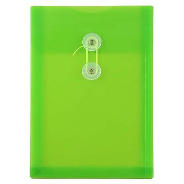 JAM PaperMD – Enveloppes en plastique avec fermeture à bouton et ficelle, 6 1/4 x 9 1/4 po, vert lime nouveau, paquet de 120