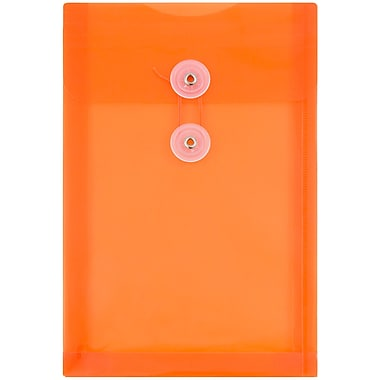 JAM Paper® Plastic Envelopes with Button and String Tie Closure, Open End, 6.25 x 9.25, Bright Orange Poly, 12/Pack (472B1OR)