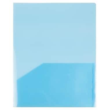 JAM PaperMD – Chemises de plastique transparentes à 2 pochettes, bleu, paquet de 12