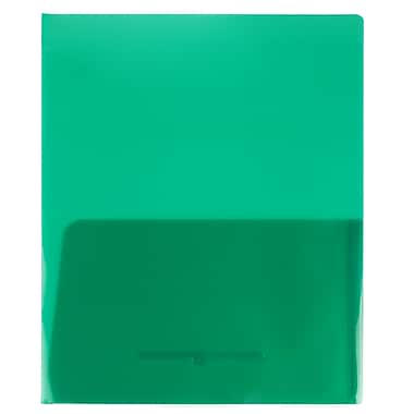 JAM Paper Plastic See Through Two Pocket Folder, Green, 12/Pack (381greendg)