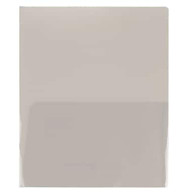 JAM Paper® Plastic See Through Two Pocket Folder, Smoke Grey, 12/Pack (381smokedg)