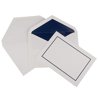 JAM Paper® Colourful Border Stationery Set, 52 Large Cards and 50 Envelopes, Navy Blue (2237719072)