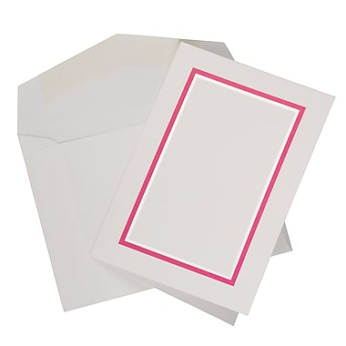 JAM Paper® Colourful Border Stationery Set, 104 Small Cards and 100 Envelopes, Pink (2237719079)