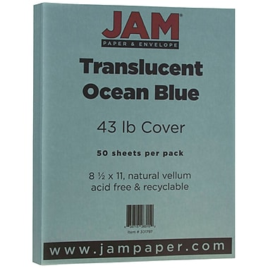 JAM Paper - Papier vélin cartonné translucide, 8,5 x 11 po, 43 lb, bleu océan, 50/paquet (301797)