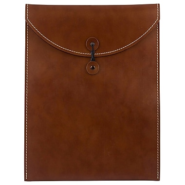 JAM Paper® Leather Envelopes with Button and String Tie Closure, 9.5 x 12.5, Brown Sold Individually (CF65LBR)