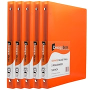 JAM Paper® Plastic 3 Ring Binder, 0.75 inch, Orange, 5/Pack (53016org)