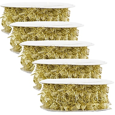JAM Paper® Feather Ribbon, 3 Yards per spool, Gold Metallic, 5/Pack (2209816339g)