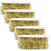 JAM Paper Feather Ribbon, 3 Yards per spool, Gold Metallic, 5/Pack (2209816339g)