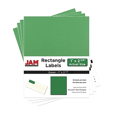 JAM Paper® Mailing Address Labels, 1 x 2 5/8, AstroBrights® Gamma Green, 4 packs of 120 (302725772g)