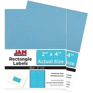 JAM Paper Étiquettes adresse pour le courrier, 2 x 4 po, bleu lune, 240 par paquet