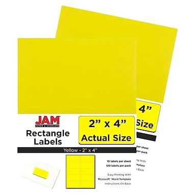 JAM Paper Mailing Address Labels, 2 x 4, AstroBrights Solar Yellow, 2 packs of 120 (302724410g)