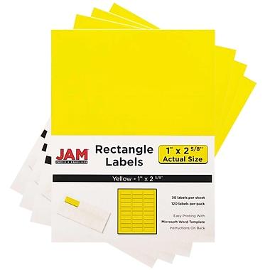 JAM PaperMD – Étiquettes d'adresse pour le courrier, 2 5/8 x 1 po, jaune soleil Astrobright, 480 par paquet