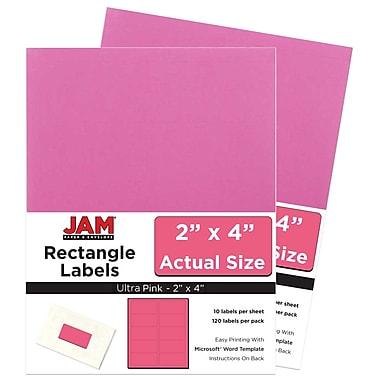 JAM Paper Étiquettes adresse pour le courrier, 2 x 4 po, rose rythmé, 240 par paquet