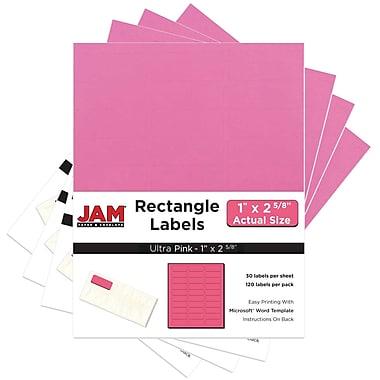 JAM Paper Étiquettes adresse pour le courrier, 2 5/8 x 1 po, rose rythmé Astrobright, 480 par paquet