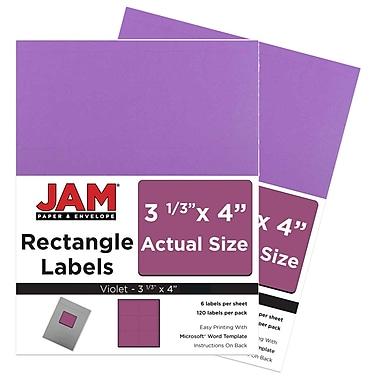JAM PaperMD – Étiquettes d'adresse pour le courrier, 4 x 3 1/3 po, violet planétaire Astrobright, 240 par paquet