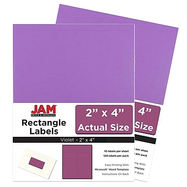 JAM Paper Mailing Address Labels, 2 x 4, AstroBrights Planetary Purple, 2 packs of 120 (302725790g)