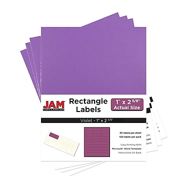 JAM Paper® Mailing Address Labels, 1 x 2 5/8, AstroBrights® Planetary Purple, 4 packs of 120 (302725788g)
