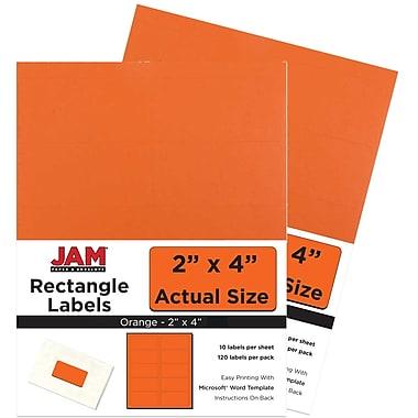 JAM Paper Mailing Address Labels, 2 x 4, AstroBrights Cosmic Orange, 2 packs of 120 (302725784g)