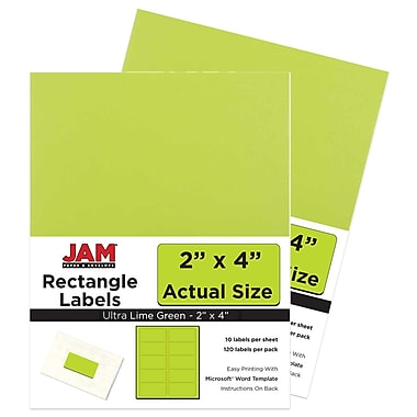 JAM Paper Mailing Address Labels, 2 x 4, AstroBrights Terra Lime Green, 2 packs of 120 (302724405g)