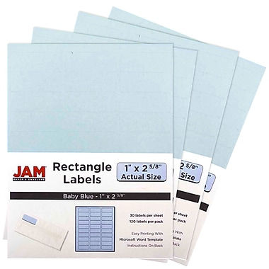 JAM Paper® Mailing Address Labels, 1 x 2 5/8, Baby Blue, 4 packs of 120 (4052894g)