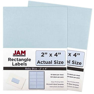 JAM Paper® Mailing Address Labels, 2 x 4, Baby Blue, 2 packs of 120 (4052896g)