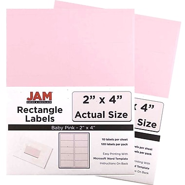 JAM Paper® Mailing Address Labels, 2 x 4, Baby Pink, 2 packs of 120 (4052897g)