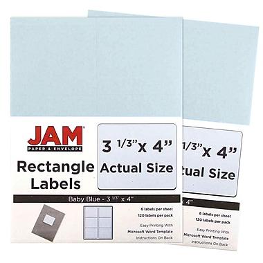 JAM PaperMD – Étiquettes postales, 4 x 3 1/3 po, bleu ciel, 6 par page, 240 par paquet