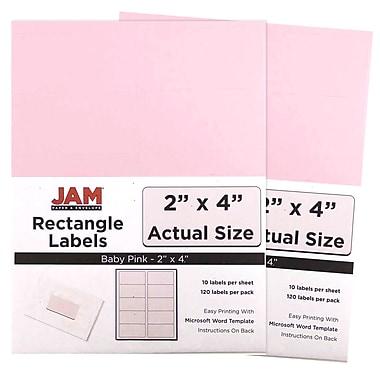 JAM PaperMD – Étiquettes postales, 4 x 3 1/3 po, rose bébé, 6 par page, 240 par paquet