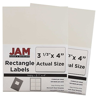 JAM Paper® Mailing Address Labels, 3 1/3 x 4, Ivory, 2 packs of 120 (17966069g)