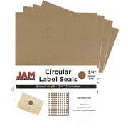 JAM Paper® Round Circle Label Sticker Seals, 3/4, Brown Kraft, 4 packs of 120 (3147612188g)