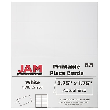 JAM Paper Printable Place Cards, 1.75 x 3.75, White Placecards, 2 Packs of 12 (2225916894g)
