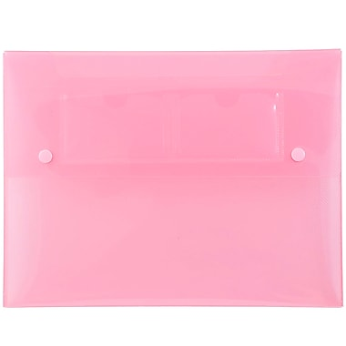 JAM Paper® Portfolio with 2 Button Snap Closure, 9.5 x 12.5 x 0.75, Pink, 4/Pack (520pinkg)
