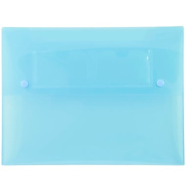 JAM Paper® Portfolio with 2 Button Snap Closure, 9.5 x 12.5 x 0.75, Blue, 4/Pack (520blueg)