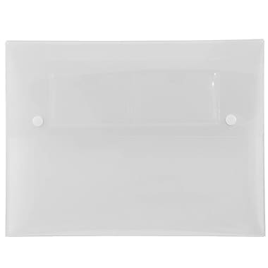 JAM Paper® Portfolio with 2 Button Snap Closure, 9.5 x 12.5 x 0.75, Clear, 4/Pack (23485950g)