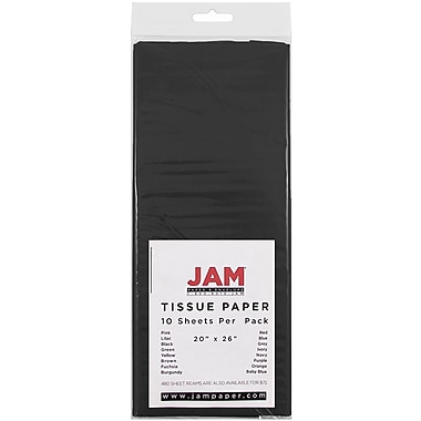 JAM Paper® Tissue Paper, Black, 10 packs of 10 (1152348g)
