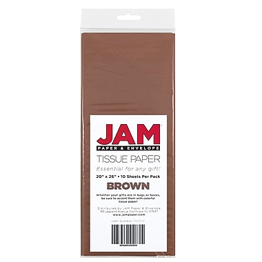 JAM Paper® Tissue Paper, Brown, 10 packs of 10 (1152349g)