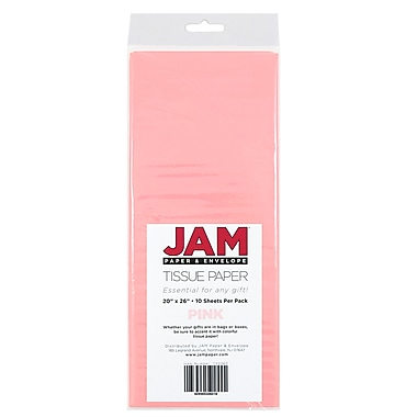JAM Paper® Tissue Paper, Pink, 10 packs of 10 (1152360g)
