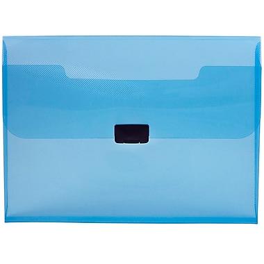 JAM Paper® Plastic Portfolio with Center Buckle Closure, 9.5 x 13.25 x 1 1/8, Blue, 4/Pack (550blueg)