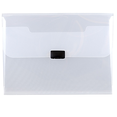 JAM Paper® Plastic Portfolio with Center Buckle Closure, 9.5 x 13.25 x 1 1/8, Clear, 4/Pack (550clearg)