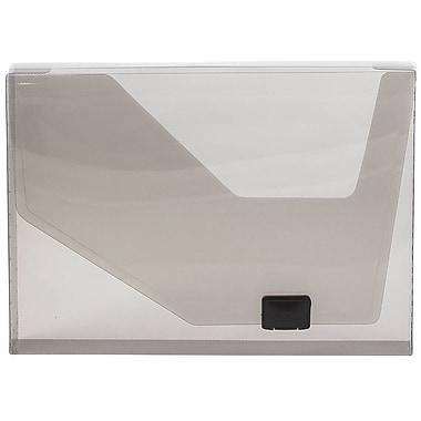 JAM Paper MD – Porte-document en plastique, fermeture à boucle latérale, 9 3/4 po x 13 1/2 po x -1 1/2 po, gris, paquet de 2