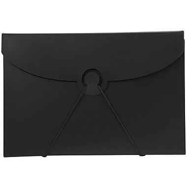 JAM Paper MD – Porte-document en plastique avec fermeture à crochet, 6 1/2 po x 9 1/2 po x 1/4 po, noir, paquet de 4